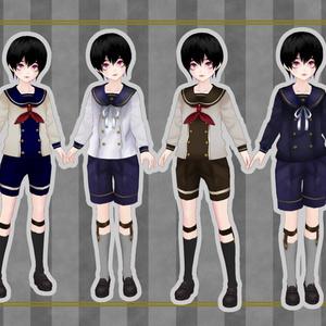【無料版あり】少年長袖セーラー服セット【VRoid】