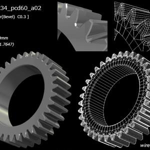 34枚歯(34tooth)の平歯車(gear)3D素材