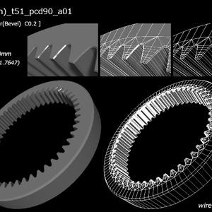 51枚歯(51tooth)の内歯歯車(internal gear)3D素材