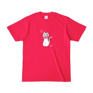 シュシュネコTシャツ(濃色・ホットピンク)