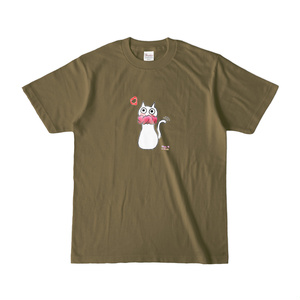 シュシュネコTシャツ(濃色・オリーブ)