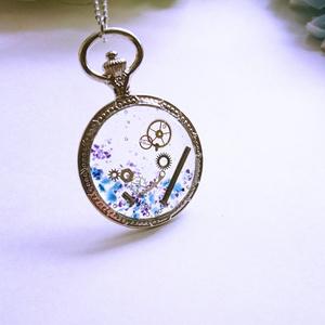 時計のネックレス(青)【レジンアクセサリ】