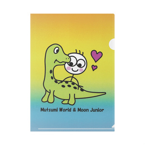 Mutsumi World & Moon Junior クリアファイル 草食恐竜柄