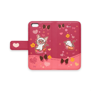 かまってシャムちゃん 手帳型iPhoneケース(赤)