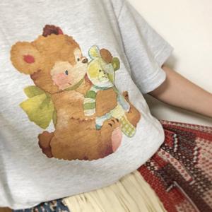 【Tシャツ(アッシュカラー)】テディベアベア