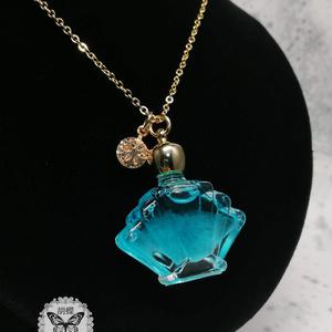 「流氷の囁き アクアマリン色」アンタークチサイトもどきのネックレス