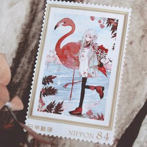 フラミンゴと仲良し切手
