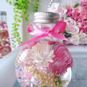 春色 ピンク ハーバリウム 丸型ミニボトル
