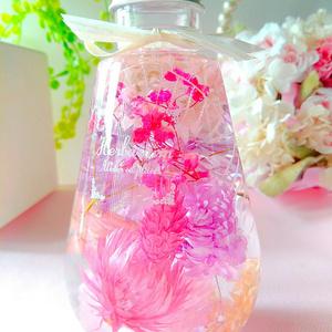 ピンク&パープル系 ハーバリウム しずく型ボトル
