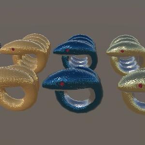 蛇モチーフの指輪・腕輪(三角面630、三角面1142)