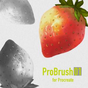 Procreate対応の水彩境界や滲みのある水彩画材ブラシ10本セット「プロブラシ01」
