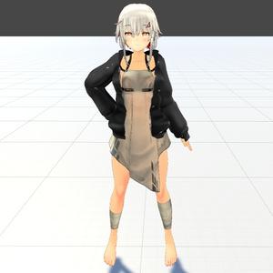 【スキニング済衣装】モノトーンパーカー