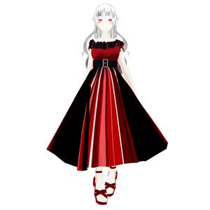 【スキニング済衣装】ストライプドレス