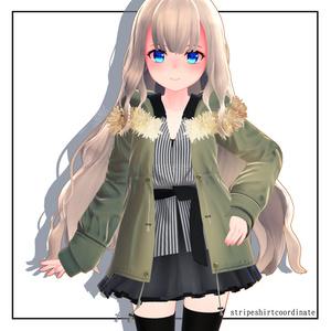 【スキニング済衣装】ストライプシャツコーデ