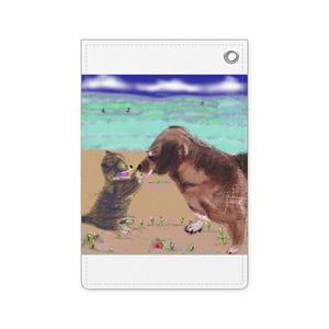 猫とラブラドール犬のパスケース