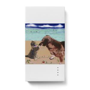 猫とラブラドール犬のモバイルバッテリー