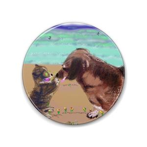 猫とラブラドール犬の缶バッチ