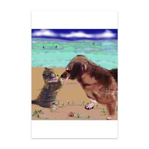 猫とラブラドール犬のポストカード
