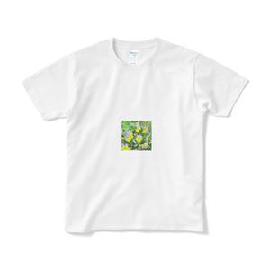 パンジー(紫と黄色)のTシャツ(短納期) -  ホワイト