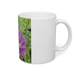 雨に濡れるニチニチソウのマグカップ