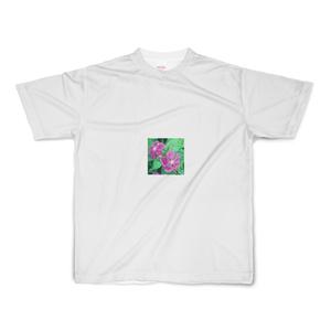 ニチニチソウと3色すみれのフルグラフィックTシャツ - S