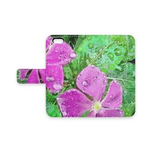 雨に濡れるニチニチソウの手帳型iPhoneケース - iPhone 6 / 6s