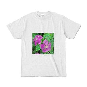 雨に濡れるニチニチソウのアクリルのカラーTシャツ -  アッシュ
