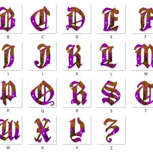 【紫】アルファベット型アクリルキーホルダー全26文字