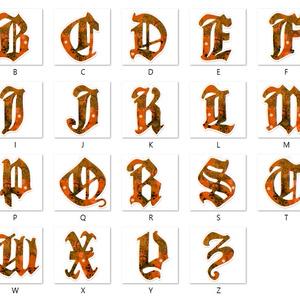 【橙】アルファベット型アクリルキーホルダー全26文字