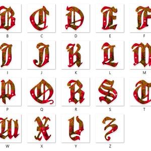 【紅】アルファベット型アクリルキーホルダー全26文字