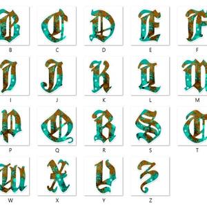 フォロワー様限定【青緑】アルファベット型アクリルキーホルダー全26文字
