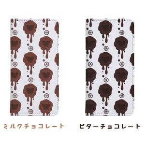 チョコ好きさんへ!受注生産【ミルクチョコ・ビターチョコ】healing-honey蝋封風ロゴモチーフ手帳型スマートフォンケース