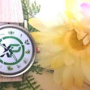 ◆過去作品(アーカイブ) 薄茶ネイチャー柄なベルト(2針腕時計):XPコイン おハーブ文字盤シリーズ