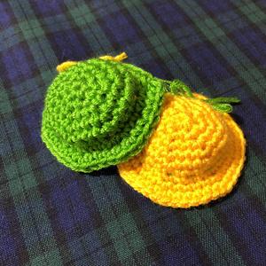 もちマスちゃん用カンカン帽 黄色×黄緑リボン