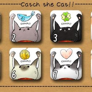 ネコさんの正方形缶バッチ★キャッチ the キャット