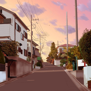 フリー背景素材:住宅街
