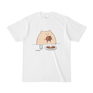 パスタのひと巻きがでかい猫Tシャツ