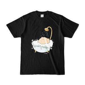 にわねこ(風呂)黒Tシャツ