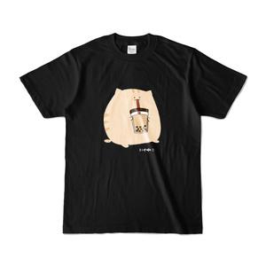 にわねこ(タピオカ)黒Tシャツ