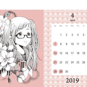 誕生月花ペン画スクールカレンダー