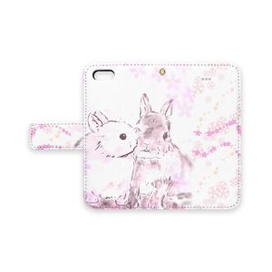 仲良しうさぎ〈桜〉手帳型スマホケース