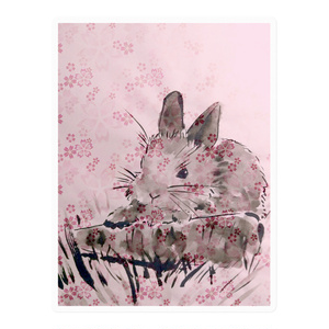 墨うさぎ〈桜〉ステッカー