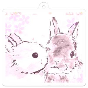 仲良しうさぎ〈桜〉キーホルダー