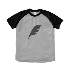 feather ラグランTシャツ 杢グレー×ブラック