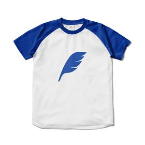 feather ラグランTシャツ ホワイト×ロイヤルブルー