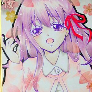 送料込♪直筆イラスト色紙 Fate間桐桜