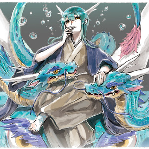 東洋竜さんと西洋竜さん(人型)/ポストカード