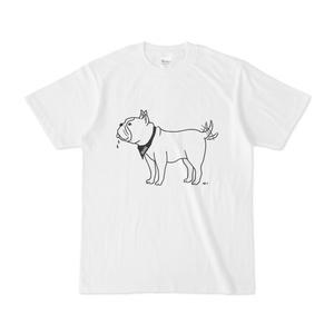 フレンチブルドッグ しっぽをふる 動物イラストTシャツ