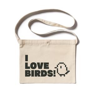 「I  LOVE BIRDS!」ドット絵サコッシュ(ナチュラル/黒)