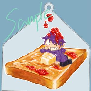 焼きたてトーストには苺ジャムとバターに紫さん!